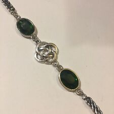 BRACELET DARK SILVER PLATED ROUND CELTIC KNOTS FACETED GREEN GLASS CRYSTAL OVAL