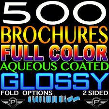 "500 BROCHURE 11"" X 17"" FULL COLOR 2 SIDED 100LB GLOSSY AQUEOUS COATED - FOLDED"