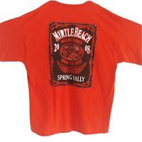Motorcycle Biker Event T-Shirt 2008 Myrtle Beach Spring Rally Orange Sz:XL