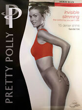 Pretty Polly Invisible Slimming Tights 15 Denier Shine Sandal Toe Medium Black