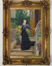 """LEMEUNIER Basile (1852-1922) """" Parisienne sur le perron fleuri """" Paris 1900"""