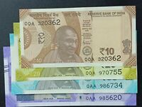 India New 10, 20, 50 & 100 Rupees 2019 Issue First Prefix 00A, 0AA UNC