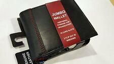 BIFOLD WALLET JUMBO RFID GEORGE MEN'S GENUINE BLACK LEATHER 16 CARD SLOTS