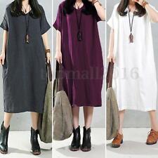 Zanzea Women's Short Sleeve Cotton Baggy Kaftan Loose Maxi Dress Long Tops Plus