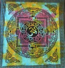 Couverture indienne Tenture Om Mandala multicolore 230x210cm Tie Dye Déco murale