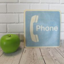 """Vintage Pay Phone Booth Glass Decal Sticker Blue White Adhesive 7"""" Square Retro"""