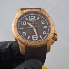 Mens Invicta Rose Gold Brown Strap Diver Watch 1906