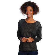 ONE WORLD~Black~ Sweater Knit~Raglan Sleeve w/ Lace~ Embellished~Hi-Lo~Top~L~