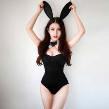 Lady Sexy Cute Black Rabbit Bunny Halloween Party Cosplay Costume Fancy Bodysuit