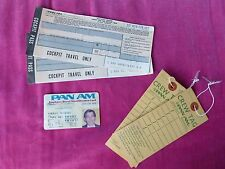 PAN AM CAPTAIN'S IDENTIFICATION CARD, TWO COCKPIT TRAVEL TICKETS & TWO TAGS