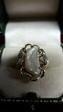 9ct Gold Unusual Pearl Stone & Diamond Ring (Size M)