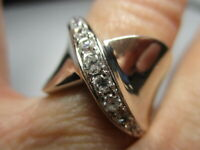 STERLING SILVER ESTATE BRILLIANT CUBIC ZIRCONIA CROSSOVER BAND RING SIZE 5.5