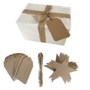 12pc Craft Brown Paper Gift Tags Wedding Vintage Tags With String Star Rectangle