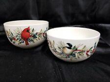 2 Lenox Christmas Bowl Set Snow Bird And Red Bird Winter Greetings