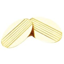 14k Yellow Gold Oval Cufflinks with Lines
