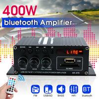 1x 12V 400W Bluetooth Hi-Fi Amplificatore di Potenza Auto Stereo Fm Radio MP3
