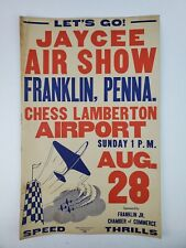 Vintage 1950's Jayce Air Show Franklin PA Cardboard Poster Sign Airport Airplane