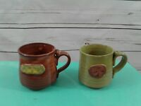 Pair Stoneware Art Pottery Coffee Java Mugs Green Brown Handmade Hand Thrown