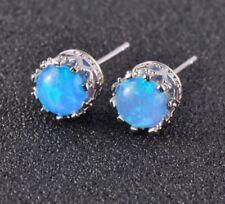 925 Sterling Silver Filled 6 MM Round Blue Fire Opal Stud Earrings