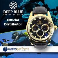 DEEP BLUE FLEET ADMIRAL WATCH AUTO CALENDAR 100m WR ROSE GOLD CASE BLUE DIAL