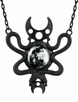 Restyle Crescent Moon Embraced Snakes Gothic Punk Witchy Occult Black Necklace