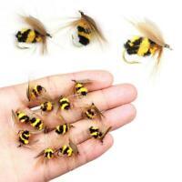 LOT 10 Schaum Bumble Bee Nymph Forelle Fliegen Fliegen Angelhaken Sale A2V9