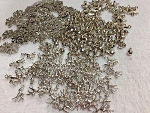 260 x Mixed Silver Acrylic Christmas Charms