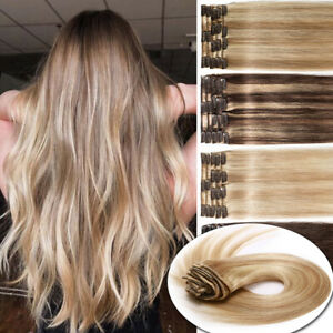 """CLEARANCE 8""""-24"""" Clip in 100% REMY Human Hair Extensions Full Head ombre thick E"""