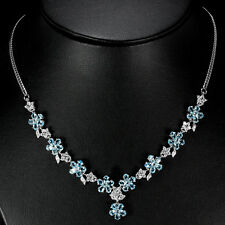 Sterling Silver 925 Genuine Swiss Blue Topaz & Lab Diamond Necklace 18 Inch