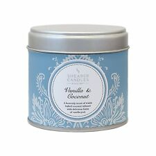 Shearer Scented Candles Vanilla and Coconut Large Silver Tin  H72mm x D75m White
