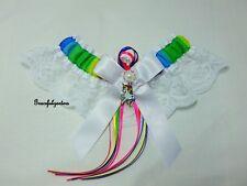 Small Unicorn Rainbow white Lace bridal Wedding Garter. white horse.
