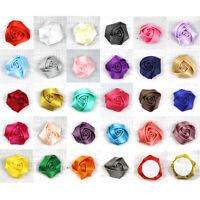 "20Pcs 1"" Satin Ribbon Rose Flower Silk Fabric Flower Handmade DIY Wedding Decor"