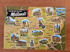Unused Map Postcard of The Heart of the Midlands by Dennis