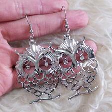 Cute Lovely Silver-Color Hollow Owl Rheinstone Eyes Chandelier Hook Earrings