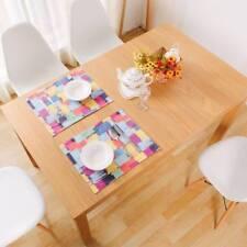 Colorful Plaid Cotton Linen Placemat Dining Table Mat Coasters Table Decor&
