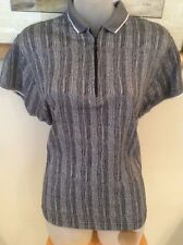 WOMENS SIZE L BLACK/WHITE VERTICAL STRIPE JAMIE SADOCK SHORT SLEEVE TOP - EUC