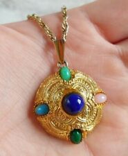 "Vtg 28"" Multi Color Glass Cabochon Maltese Style Gold Tn Molded Pendant Necklace"