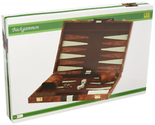 "18""x22"" Backgammon Set Brown White Faux Leather Portable Travel Folding Case NEW"
