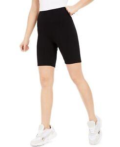 Bar III Bodycon Solid Black Biker Shorts Womens Size L Large Stretch NWT $19.50