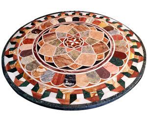 Black Marble Round Dining Table Top Geometrical Mosaic Handmade Inlay Decor B337