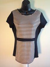 Dressbarn Women's Black Tan Striped Scoop Neck Short Sleeve Top (Size M)