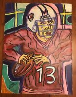 "Leonard Zatz Original Oil Painting - Football Player - 18"" x 24"" Canvas *AS IS*"