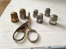 Antique Lot of Sterling Silver SP Thimbles & Sewing Scissors