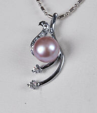 """10-11mm Natural Lavender Akoya Cultured Pearl Pendant Necklace 17"""" AAA Grade"""
