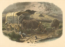 Indian Raid, Emigrant, Pioneer, Covered Wagon, by W.M. Cary, Antique Art Print,