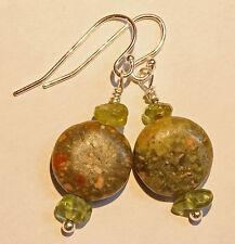 Unakite & Green Peridot Dangle Drop Sterling Silver Earrings French Earwire