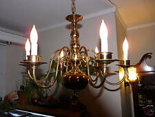 Antique solid brass chandelier  and matching sconces.