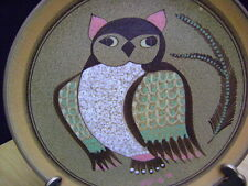"Porta Celi Spain Hand painted & Signed por Victoria, Owl 13""  Decorative Plate"