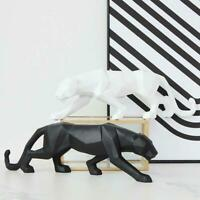 Panther Statue Abstract Geometric Style Resin Leopard Sculpture HomeOffice Decor