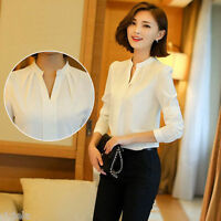 Womens Chiffon Blouse Long Sleeve Ladies T Shirt Casual Loose V Neck Tops S-XXL